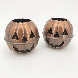 Restoration Hardware Copper Pumpkin Candle Holder